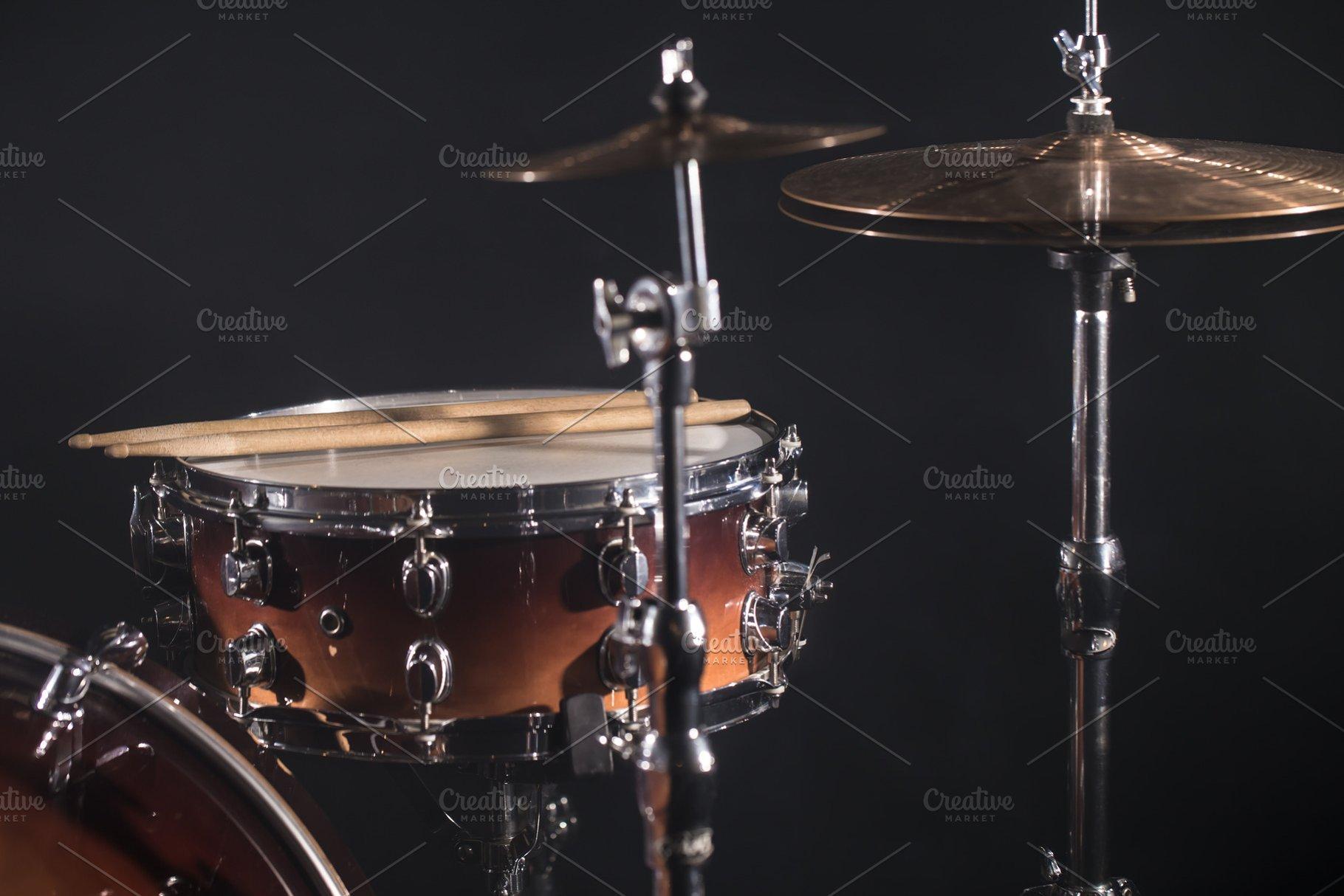 Drum Set On A Dark Background