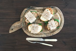 Chicken and green salad sandwiches