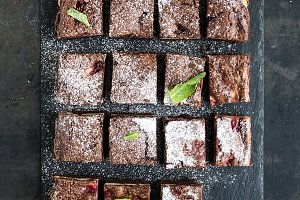 Dark chocolate and raspberry brownie