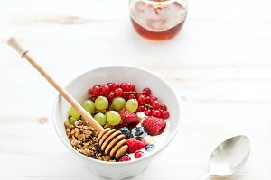 Bowl of oat granola with yogurt