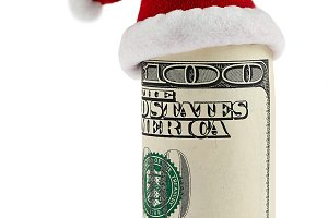A hundred dollar roll in Santa hat