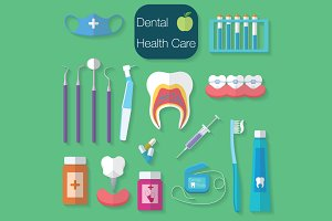Dental care flat design Vector icons