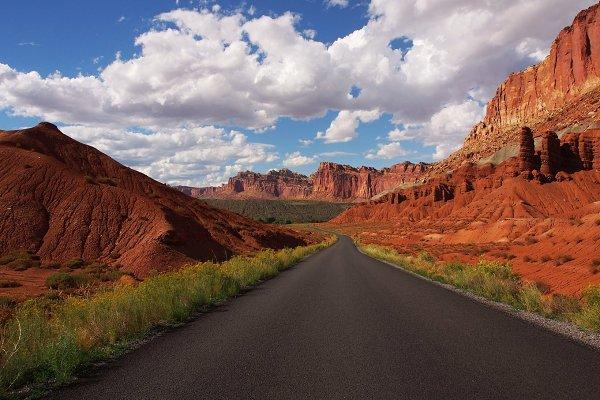 Curvy Road Between Red Rocks