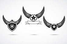 Wing emblem set, logo template