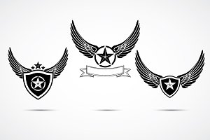Wing emblem set, logo template