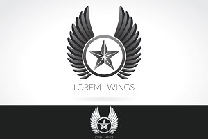 Wing Logo template, label emblem