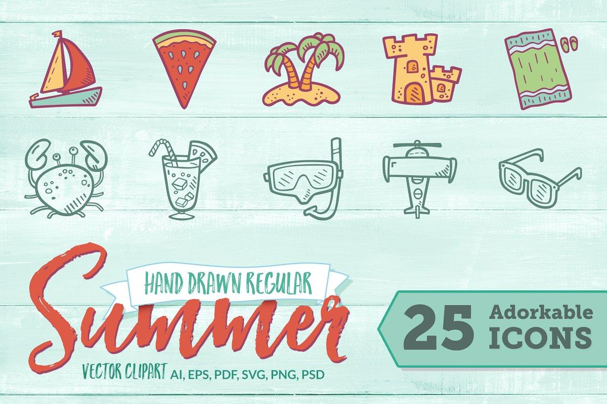 Summer Hand Drawn Icons - Regular