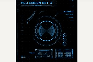HUD and GUI set. Futuristic UI