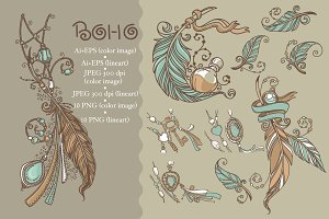 Hand drawn elements in boho style