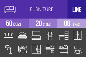 50 Furniture Line Inverted Icons