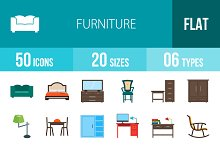 50 Furniture Flat Multicolor Icons