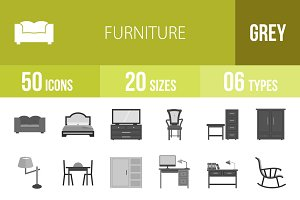 50 Furniture Greyscale Icons