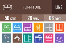 50 Furniture Line Multicolor Icons