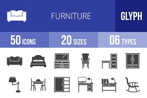 50 Furniture Glyph Icons