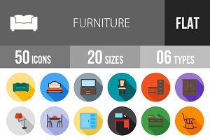 50 Furniture Flat Shadowed Icons