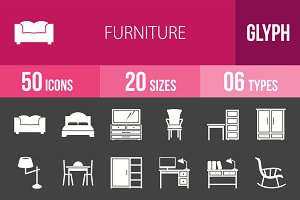 50 Furniture Glyph Inverted Icons