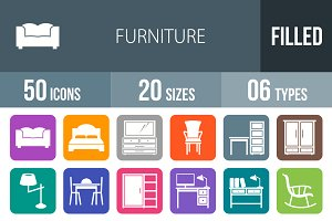 50 Furniture Flat Round Corner Icons