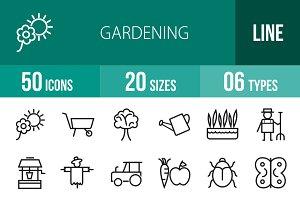 50 Gardening Line Icons