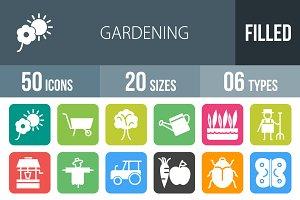 50 Gardening Flat Round Corner Icons