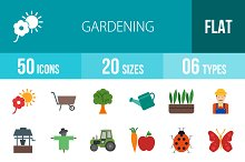 50 Gardening Flat Multicolor Icons