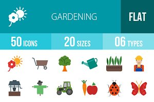 50 Gardening Flat Multicolor Icons