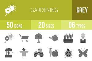 50 Gardening Greyscale Icons