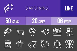 50 Gardening Line Inverted Icons