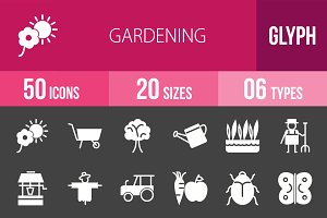 50 Gardening Glyph Inverted Icons