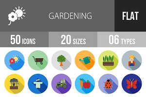50 Gardening Flat Shadowed Icons
