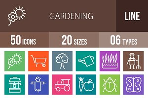 50 Gardening Line Multicolor Icons
