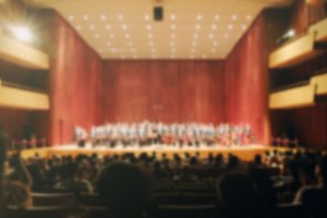 Blurred of audiences in hall
