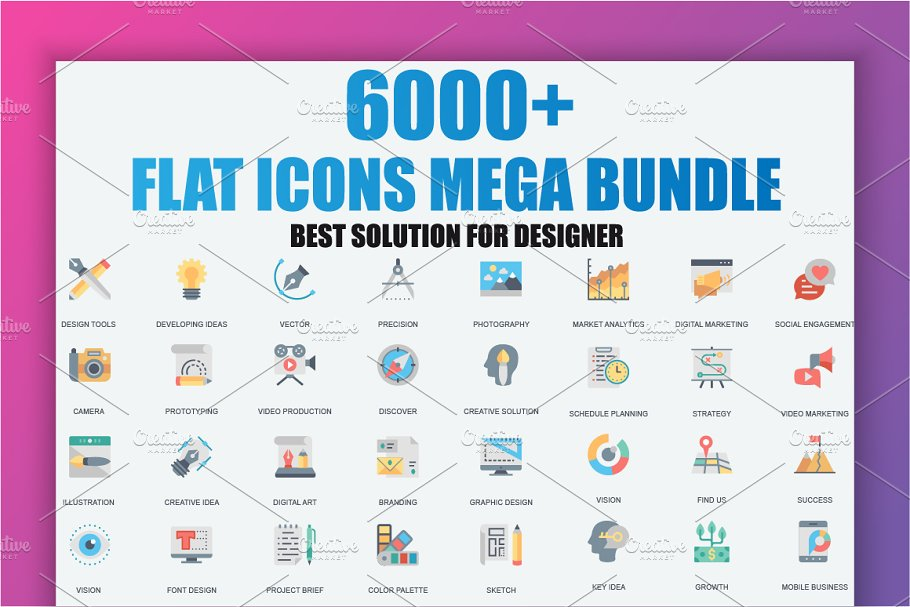 6000+ Flat Icons Bundle