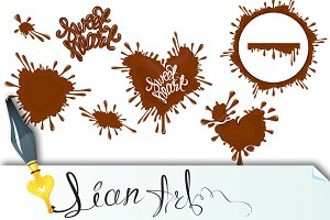 Set of Chocolate splashes, hearts