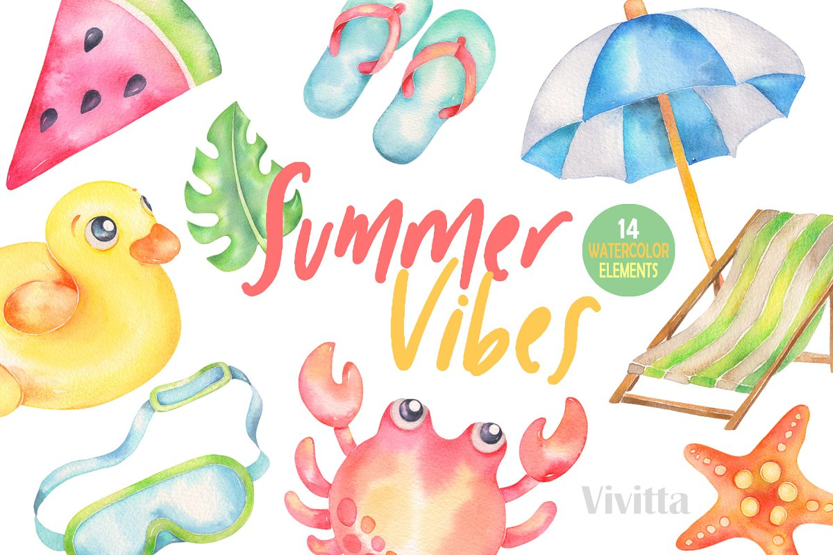 Summer watercolor. Vibes clipart