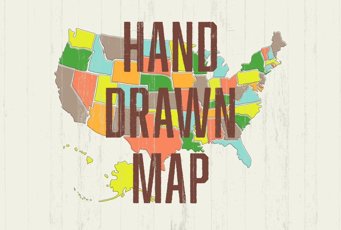Hand Drawn US Map Illustrations Creative Market - Hand drawn us map vector