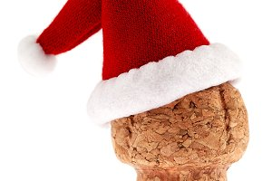 Champagne cork in Santa Hat