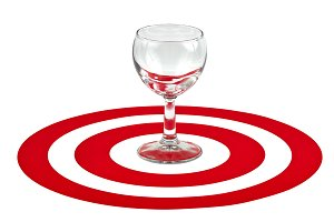 Wine glass in center of red target
