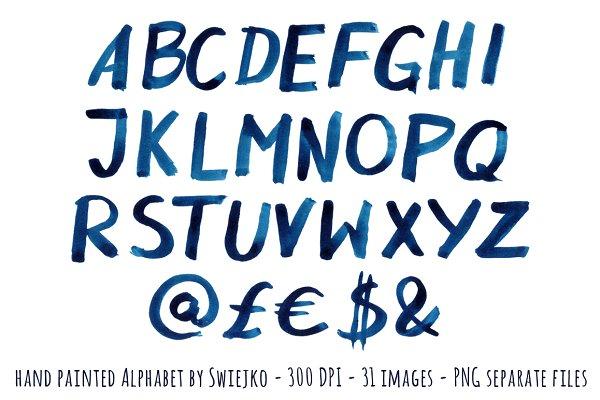 Watercolor Indigo Alphabet