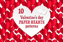 10 paper hearts seamless patterns