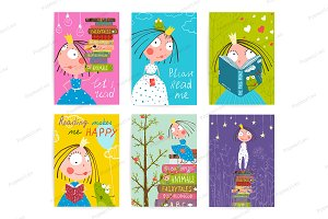 Kids Reading Books Library Posters