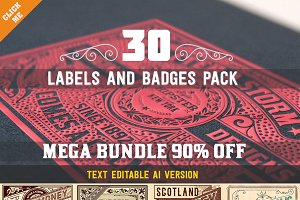 Mega Bundle of 30 labels and badges