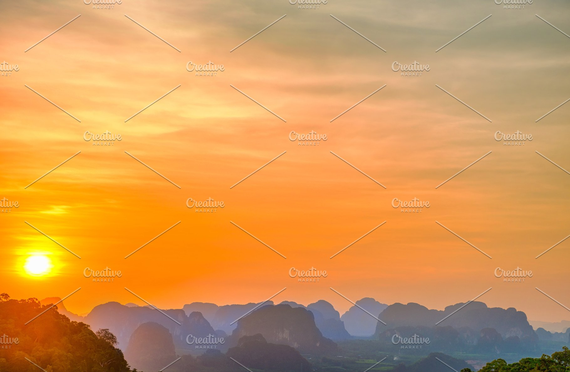 Landscape With Sunset And Blue Mount