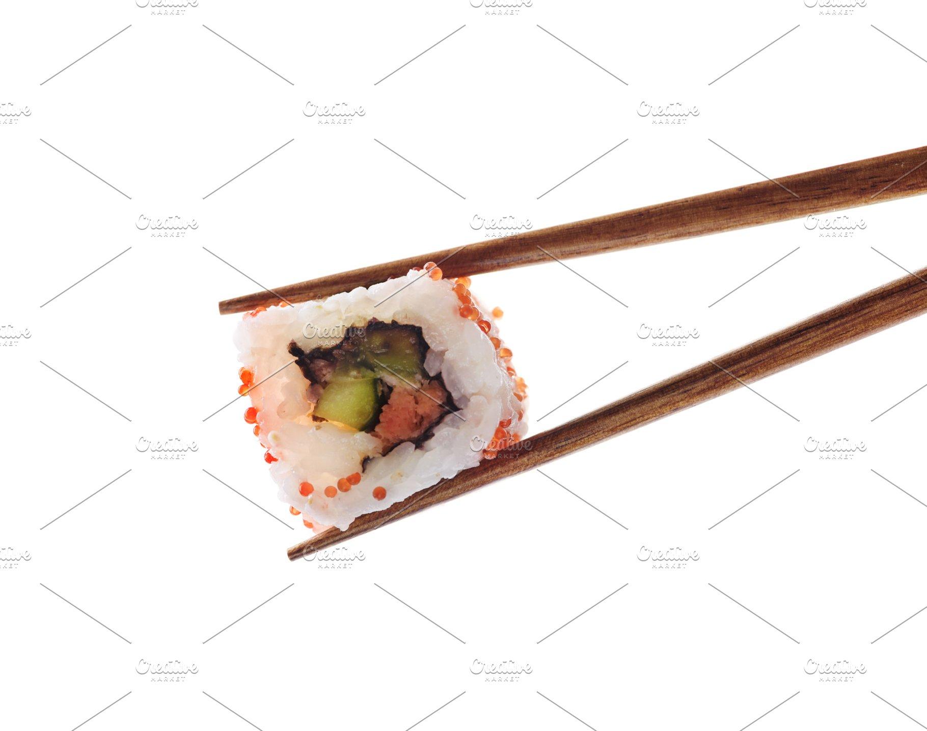 Japanese Sushi Roll Isolated On Whit