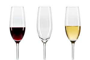 Set of three wine glasses