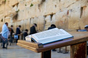 Western Wall and Bible in Jerusalem