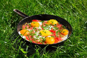 pan with eggs, green onions and toma