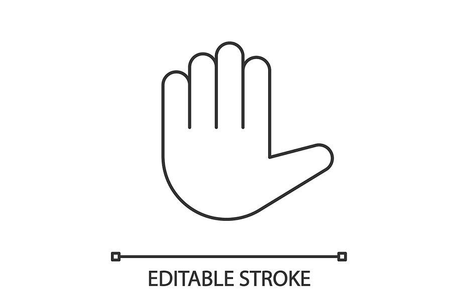 Raised hand emoji linear icon