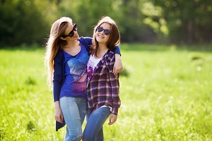 two young woman havinghaving fun