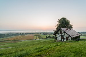 Beautiful sunrise & medieval cottage