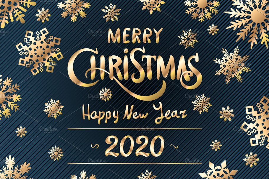 2020 Happy Merry Christmas And Happy New Year Merry Christmas Happy New Year 2020 | Pre Designed Illustrator